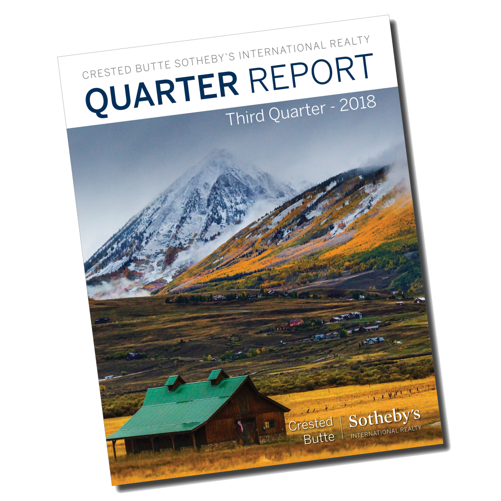 As the third quarter closes and we reflect on the year thus far, one thing is certain; 2018 is the year of change for Crested Butte. We can undoubtedly expect even more change in the coming years with the recent acquisition of Crested Butte Mountain Resort by Vail Resorts. We reported in the second quarter of this year that land sales were improving, and this is still true. With the exception of the Town of Crested Butte, land sales have increased by 60% or more in every area in Gunnison County compared to 2017. Parcels of 10+ acres continue to see the most growth year over year with an astonishing 318% increase in sales volume (due in part to a $5.3 million sale in March) and 84% more properties sold than in 2017. Crested Butte South experienced the second largest jump in properties sold with 78% more than 2017. Looking at all property types, prices are down 15%, causing a 9% dip in total sales volume compared to last year; however, we are seeing an increase of 6.1% in total units sold. Single family home sales were divided; the Town of Crested Butte and outlying areas continued to see a significant decrease in sales over last year, while Mt. CB sales were up 50% and Crested Butte South enjoyed a spike in sales volume of 65% in the third quarter. As inventory improves, condo sales appear to be equalizing slightly over Quarter 2 with sales in the Town of Crested Butte remaining strong and Mt. Crested Butte down just 5% over last year (compared to -33% last quarter). As the winter season kicks off and the new resort ownership takes shape, we are excited to see how the expected improvements affect interest in our small town. As tourism continues to grow in the Gunnison Valley, we expect the real estate market to follow suit. Visit us in beautiful downtown Crested Butte to learn more about these statistics and how Crested Butte Sotheby's International Realty can help you in your real estate endeavors. Our staff of professionals have a wealth of information, and we're h