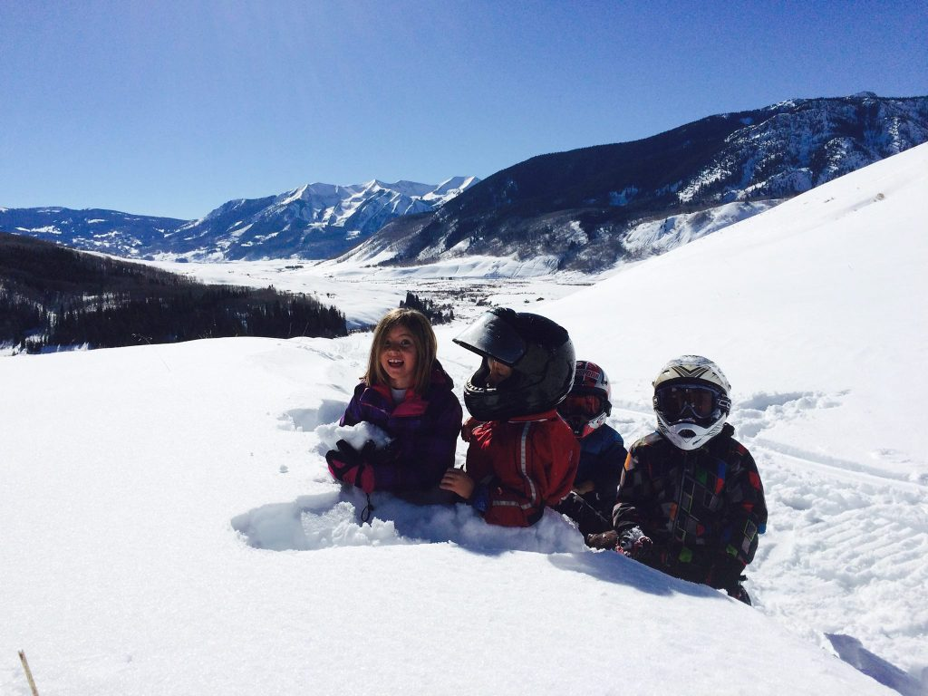 Snowmobiling with kids Crested Butte