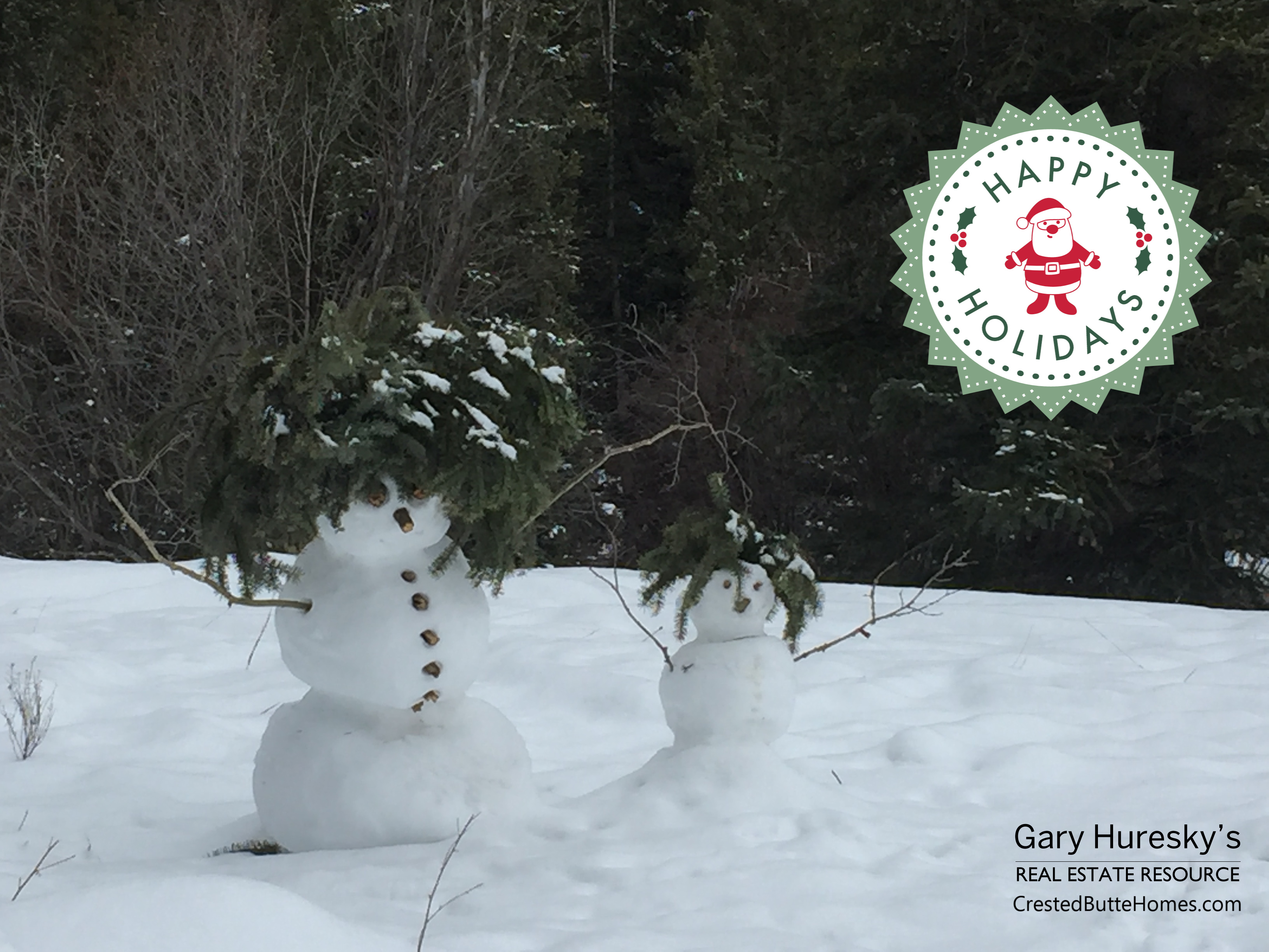 Crested Butte Snowman Happy Holidays